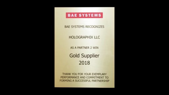 BAE Gold Supplier Award on Black Background